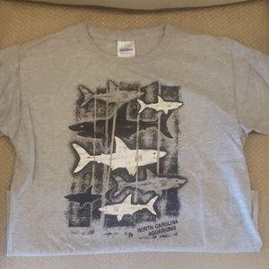 Boys Gray Shark Shirt Size 10